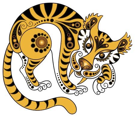 isolated tiger: Tiger in stile d'oro Vettoriali