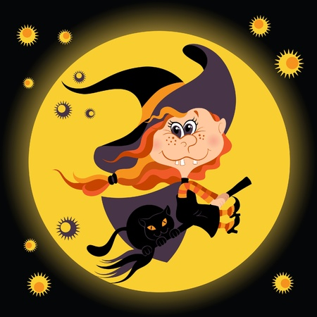 Witch halloween girl and black cat Stock Vector - 10543818