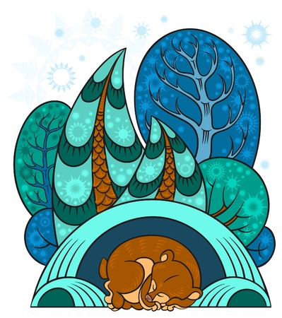 animal den: A winter forest, trees in the snow, the bear is sleeping in a warm den. The vector art image is very well-organized in groups