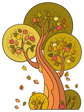 Autumn apple tree, isolated on white background. The vector art image is very well-organized in groups