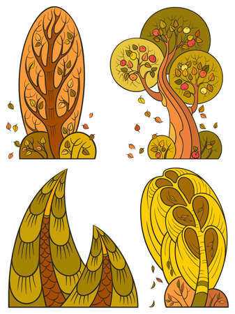 Autumn trees set, isolated on white background. The vector art image is very well-organized   in groups Vector