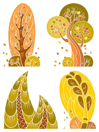 Autumn trees set, isolated on white background. The vector art image is very well-organized   in groups Stock Illustratie