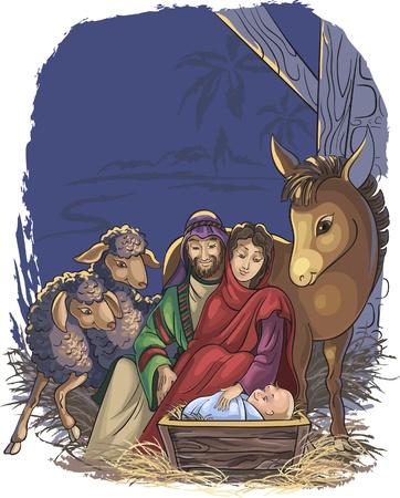 거룩한 가족과 함께 크리스마스 출생 장면. 벡터 아트 이미지가 매우 그룹에서 잘 구성되어있다