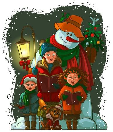Carolers Kerstmis. De vector kunst beeld is zeer overzichtelijk in groepen Stockfoto - 11126245