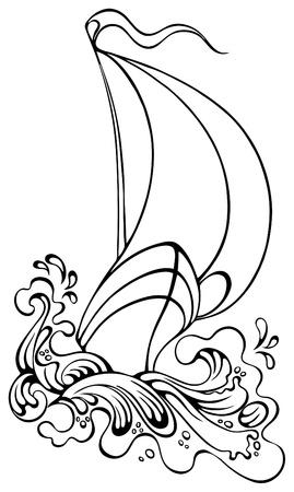 Boot zeilen in sterke golven. Schets stijl illustratie Stockfoto - 11382543