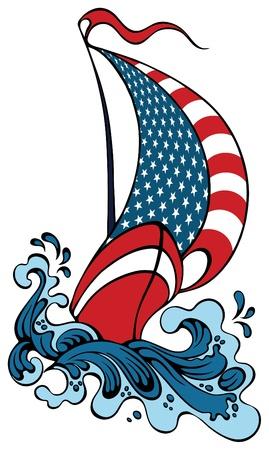 파도에 떠있는 요트의 형태로 미국의 상징