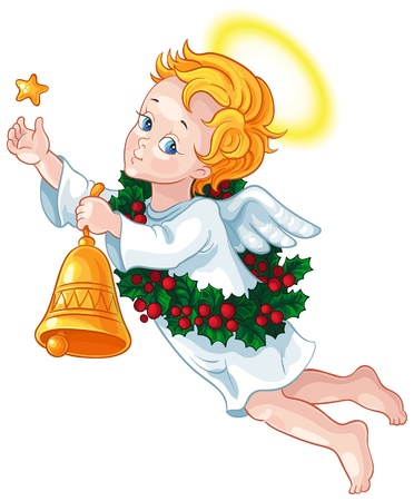 Christmas angel with a star, a bell and a wreath of holly Stock Illustratie