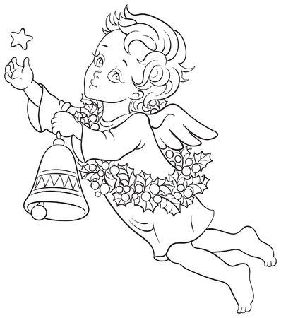 black and white line drawing: Christmas angel with a star, a bell and a wreath of holly. Sketch style illustration Illustration