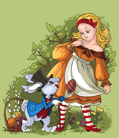Alice and the White Rabbit. Easter card Vector