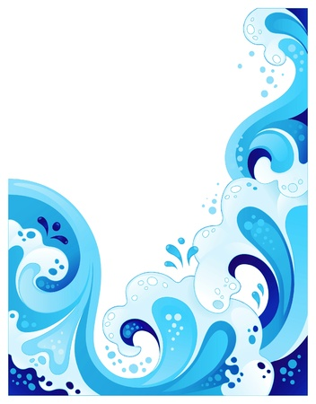 Abstract wavy background. No transparency, mesh or blends Vector