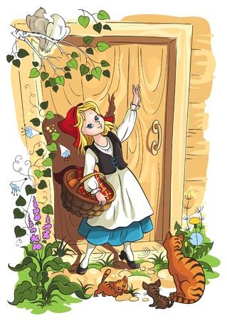 caperucita roja: Ilustraci�n para el cuento de hadas de los Hermanos Grimm Caperucita Roja Vectores