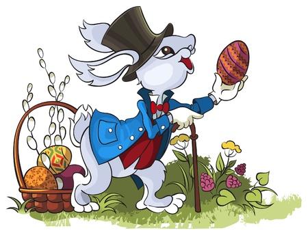 Pasen konijn, op een witte achtergrond Stock Illustratie
