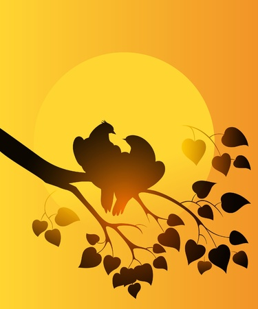romance image: Vector silhouette of two birds on background sun