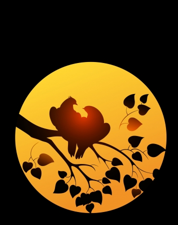 Vector silhouette of two birds on background sun