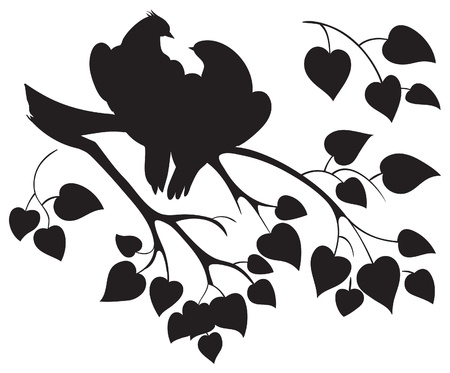 Vector silhouette of love birds sitting on branch tree