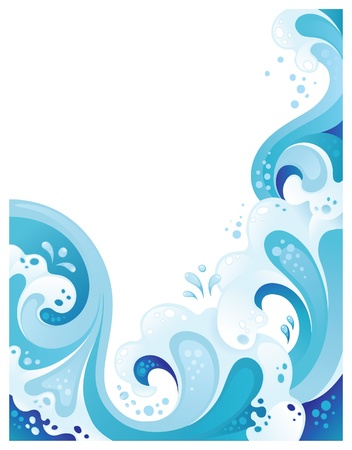 tidal wave: Abstract wavy background. Copy space at the left side Illustration