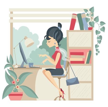 사무실에서 컴퓨터를 사용하는 젊은 비즈니스 여자