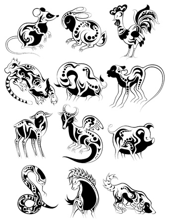 Chinese horoscope set for design Stock Illustratie