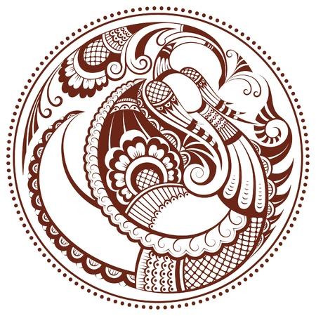 Abstract phoenix bird in mehndi style
