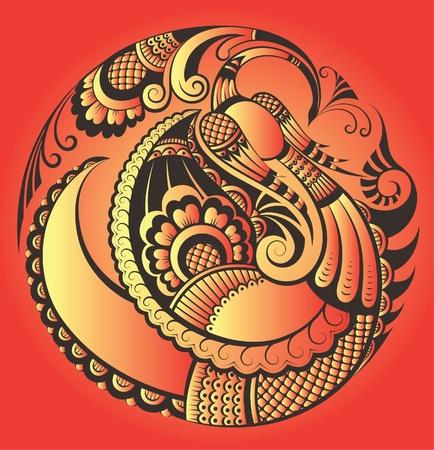 Abstract phoenix bird in paisley style Vectores