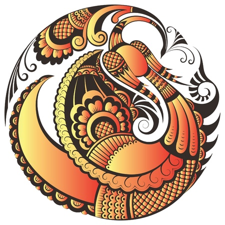 Abstract phoenix bird in decorative style Vector