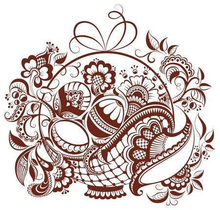 부활절 꽃 헤너 디자인. 벡터 페이즐리 추상적 인 배경에 격리 된 화이트 일러스트