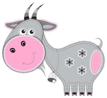 Fabric animal cutout  Goat Vector