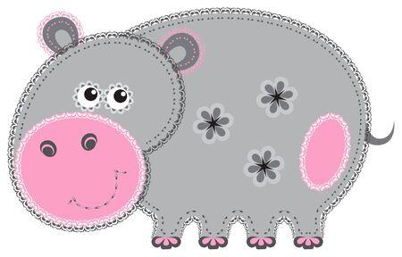 Fabric animal cutout  Hippo Vector