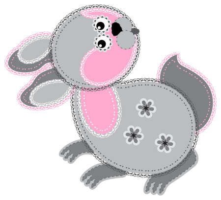 Fabric animal cutout  Rabbit Vector