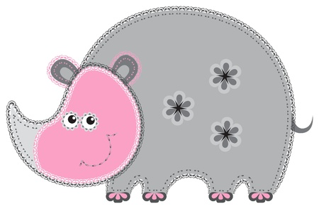 Fabric animal cutout  Rhino Vector