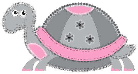 african grey: Fabric animal cutout  Turtle Illustration