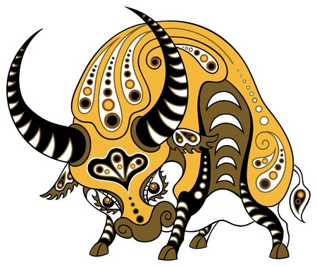 illustration of ox in decorative style, isolated on white background  イラスト・ベクター素材