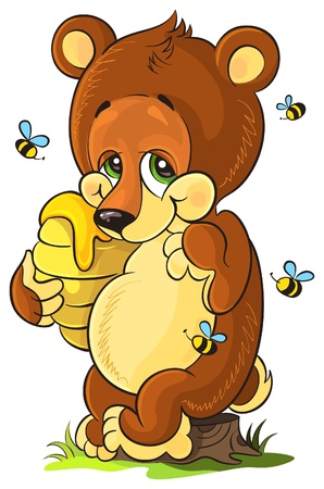 Vector illustration of cute bear cub with honey on white background