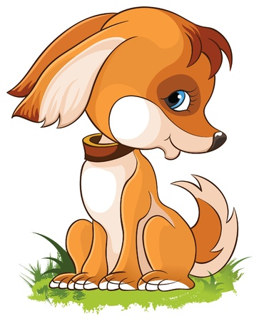 흰색 배경에 고립 귀여운 만화 강아지의 그림