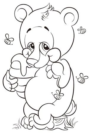 カブ: カブと蜂蜜かわいいクマの塗り絵  イラスト・ベクター素材