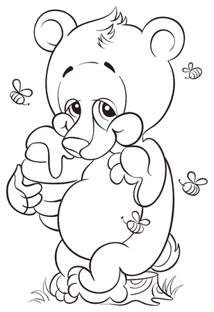 Coloring book with cute bear cub and honey