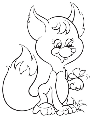 Coloring book with cute cartoon baby fox   Vector