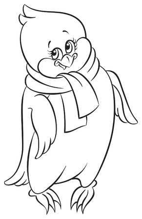 Coloring book with cute little penguin   Vector