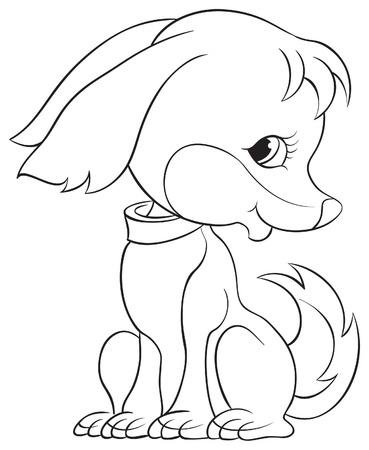 Coloring book with cute puppy dog   Ilustração