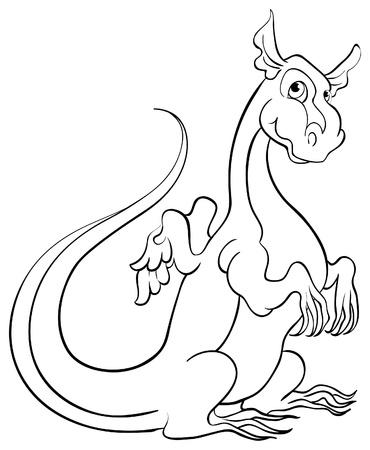 Coloring book with dragon   Vectores