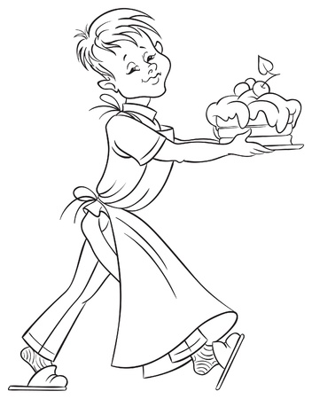 Happy boy with a cake for coloring book   Vector