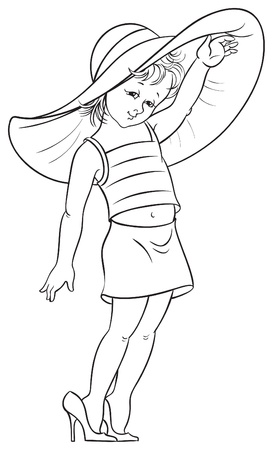 Funny little girl trying on mummy s shoes  for coloring book Vector