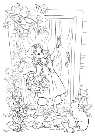 Coloring book with Little Red Riding Hood    イラスト・ベクター素材