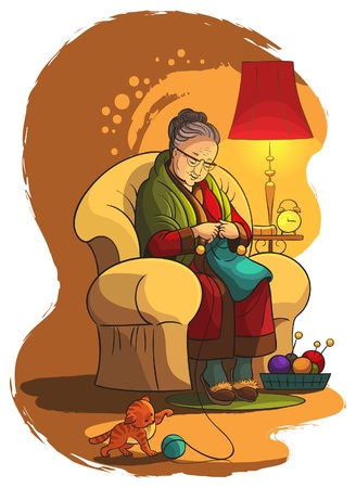 Grandmother sitting in armchair and knitting Stock Illustratie