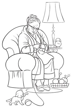Kleurboek met oma zitten in fauteuil en breien Stockfoto - 14018471