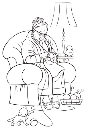 Coloring book with grandmother sitting in armchair and knitting