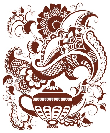 Abstract floral teapot silhouette and hot steam
