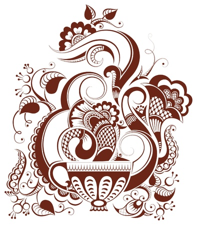 cup of tea with floral design (in mehndi style) Vectores