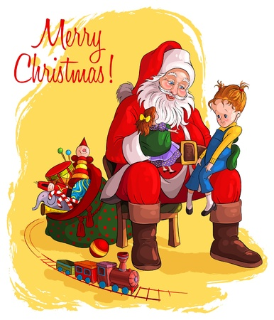 Santa Claus sitting in chair with sack of gift give Christmas gifts to children Stock Illustratie