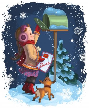 산타에게 편지를 게시 어린 소녀와 그녀의 강아지 일러스트